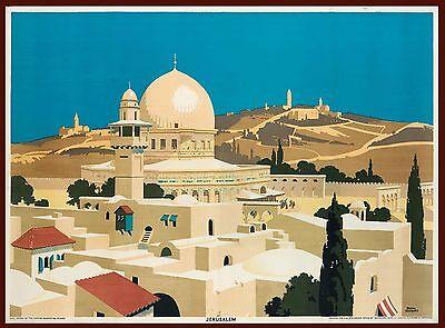 1929 Jerusalem Israel Palestine Vintage Travel Advertisement Poster