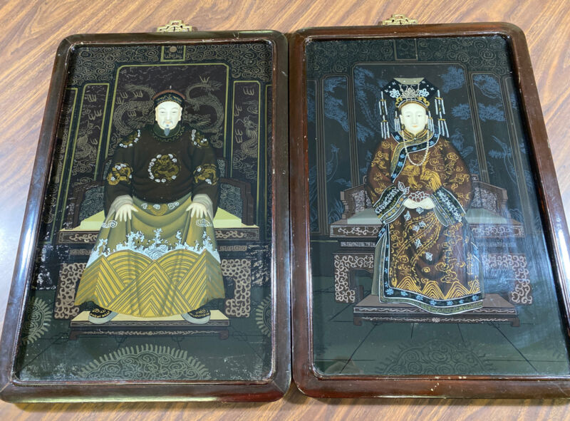 "Chinese Vintage Reverse Glass Painting Emperor & Empress 15""x22"""