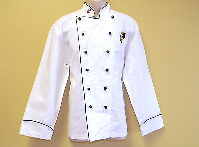 NEW NFL WASHINGTON REDSKINS PREMIUM CHEF COAT 100% COTTON L SIZE FOOTBALL CHIEF
