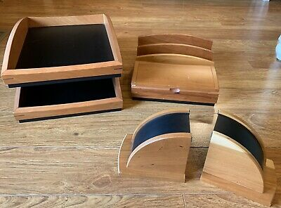 Eldon Wood Tier Paper File Tray Deskoffice Organizer Wmatching Bookends Caddy