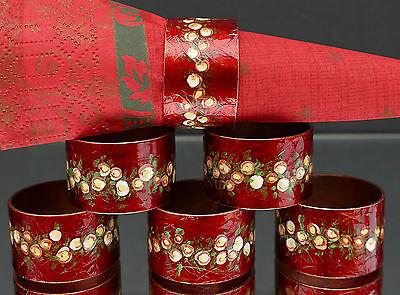 6 ältere wunderschöne Emaille Serviettenringe mit bezauberndem Design !!!