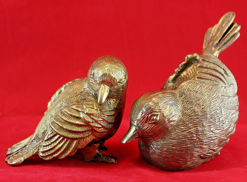 Pair of Vintage Solid Brass Birds Songbirds Figurines Sculptures Paperweight