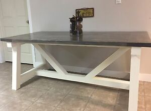 Rustic hand built truss table.
