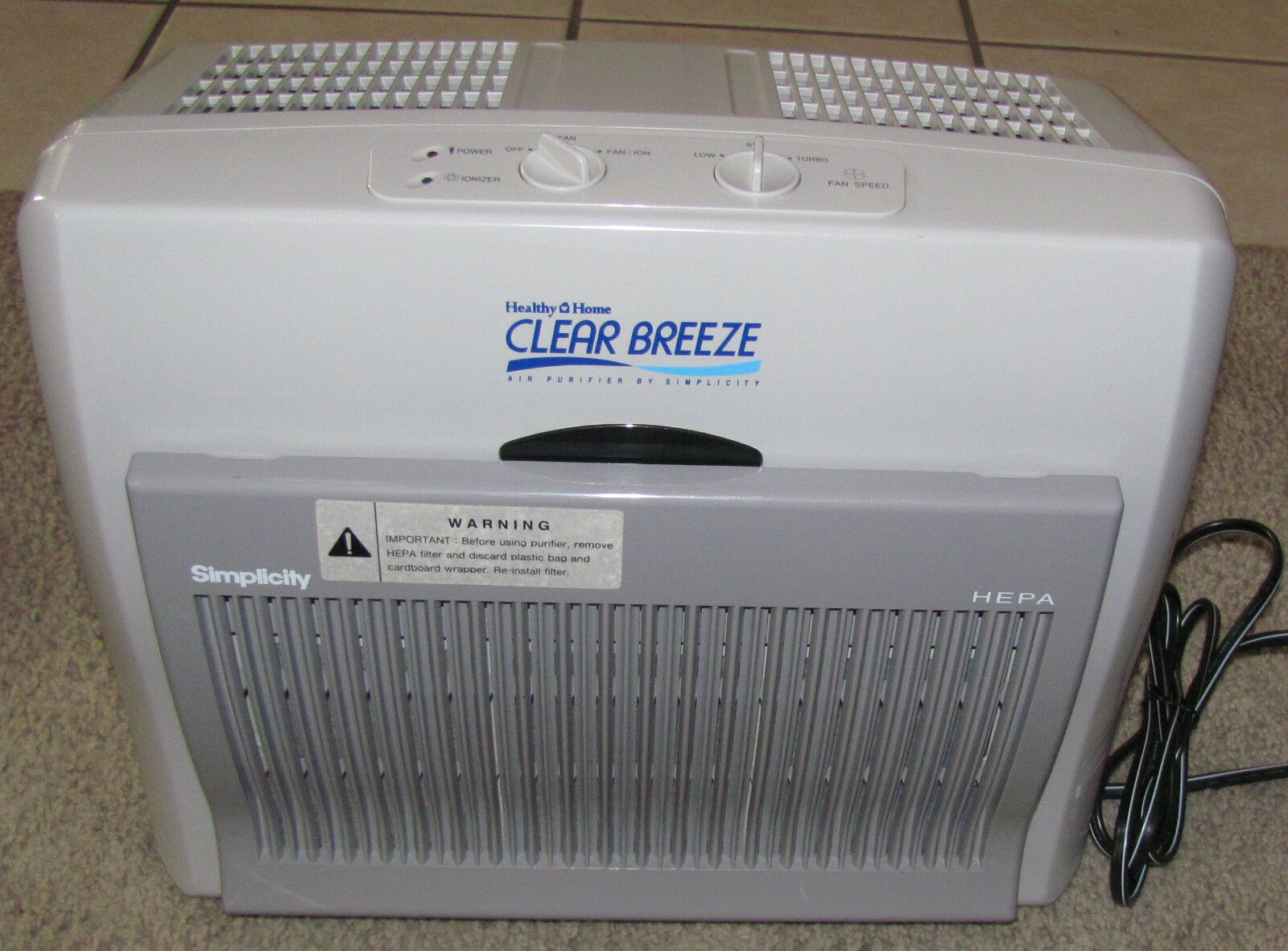 Healthy Home Air Purifier Cleaner by Simplicity CB2 HEPA Ionizer
