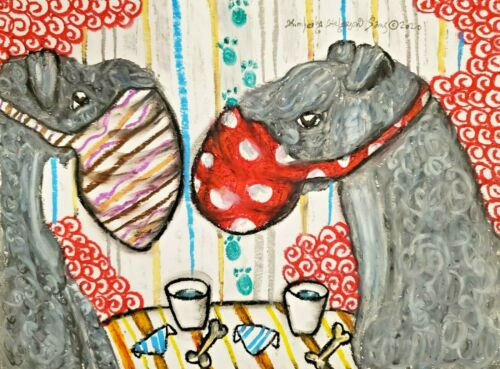 Kerry Blue Terrier Art from Painting   Dog Lover Gifts, Poster, Picture, 11x14