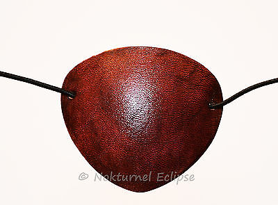 SMALL Mahogany Steampunk Leather Eye Patch Halloween Pirate Cosplay UNISEX