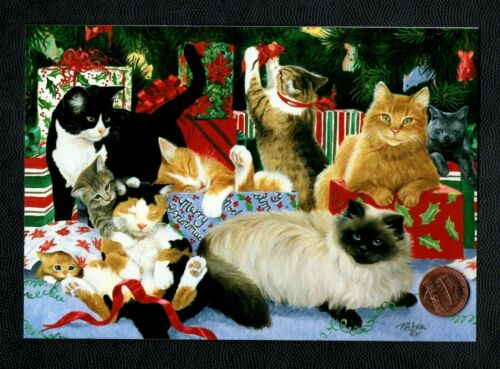 CHRISTMAS Cats Kittens Playing Gifts Wrapping Paper Greeting Card - W/ TRACKING