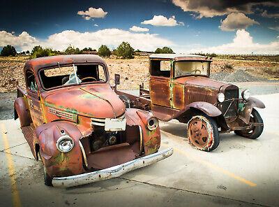 VLIES Fototapete-ROSTIGE AUTOS-(561V)-Oldtimer Vintage Automobil Car Veteran  (Rostige Autos)