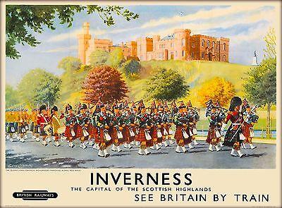 Inverness Scotland Scottish Highlands Vintage Great Britain Travel Art Poster