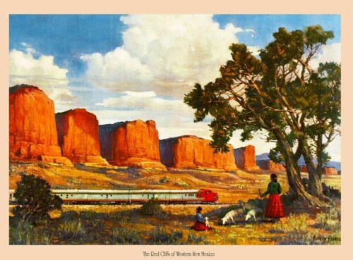 Red Cliffs New Mexico Santa Fe U.S. Railroad Travel Advertisement Art Print