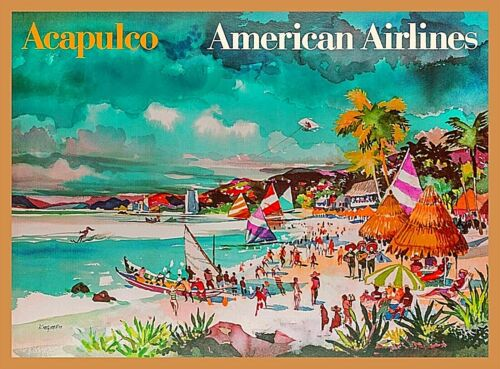 Acapulco Mexico American Airlines Mexican Vintage Travel Decor Art Poster Print