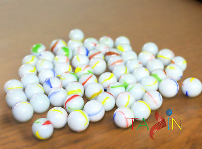 100x HI-QUALITY MILKY Coloured MARBLES Kids Glass Toys Traditional Game Party