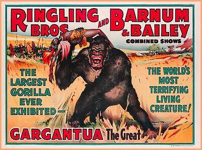 Ringling Bros Barnum & Bailey Gargantua Gorilla Vintage Circus Travel Poster  Bros Barnum & Bailey Circus