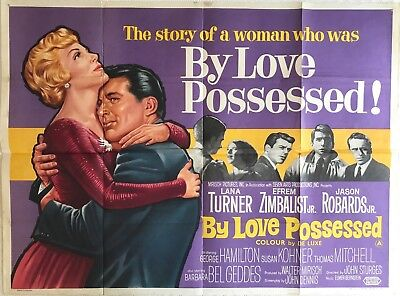 By Love Possessed Original Quad Film Poster 1961 Lana Turner, Jason Robards