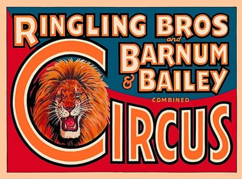 Ringling Brothers Barnum Bailey Circus Lion Head Vintage Travel Art Poster Print