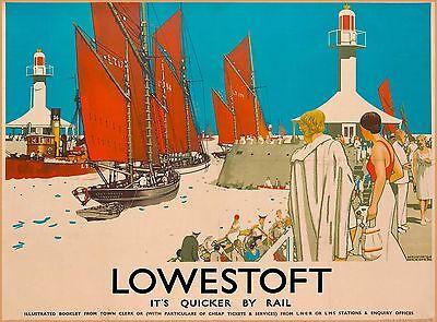 Lowestoft England Great Britain Vintage Railroad Travel Advertisement Poster