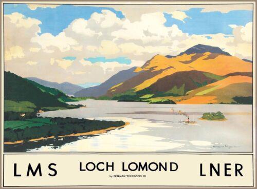 Loch Lomond Scotland Scottish Vintage Great Britain Railroad Travel Poster Print