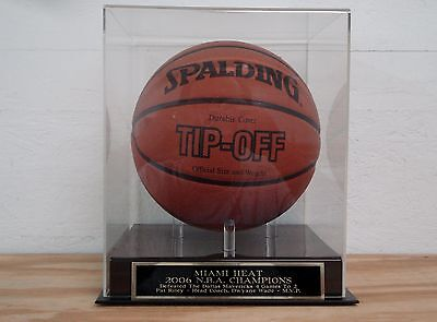 Basketball Display Case With A Miami Heat 2006 NBA Champs Engraved Nameplate