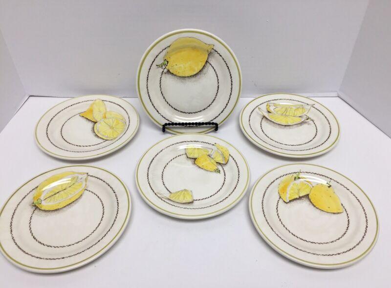 Gien France Citron De France Lemons Canape /Appetizer/ Bread Plates~ Set Of 6