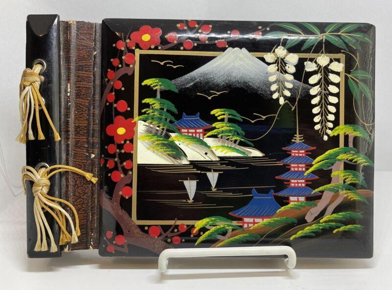 "Vintage Laquered Photo Album / Scrapbook Japan Asian Mt. Fuji w/ Temples 9""x6.25"