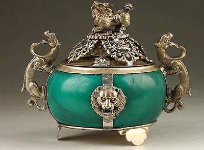 Vintage Collection Handmade Old Tibet Silver Dragon Jade Incense Burner