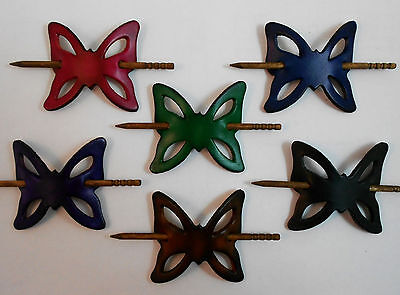 2 Leather Butterfly Hair Barrettes w Sticks, Ponytail Holders, Choice of Colors
