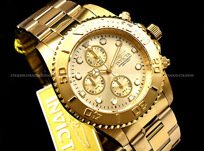 NEW Invicta Pro Diver CHAMPAGNE Dial 18K GOLD PLATED Chrono S.S Bracelet Watch