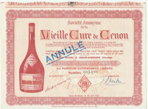 Vieille Cure de Cenon Bond Certificate Bordeaux France