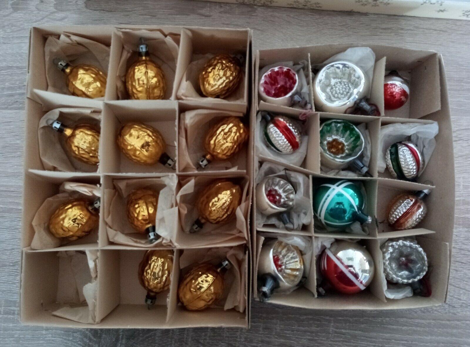 Weihnachtskugel, Christbaumkugeln Lauscha DDR, Nüsse, Reflex, Formteile, 23 teil