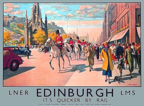 Edinburgh England Scotland Vintage Railroad Travel Advertisement Poster Print