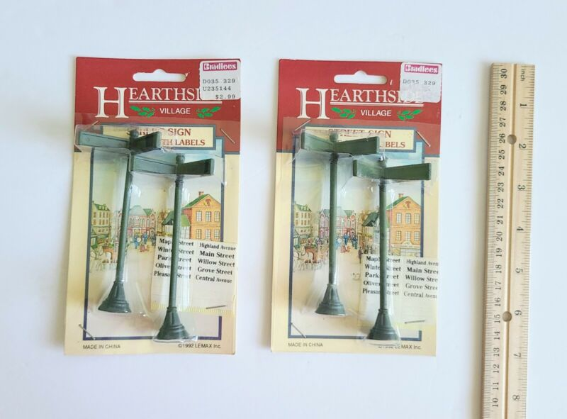 Vtg Lemax Village Collection Street Signs Collectible Dickensvale Hearthside