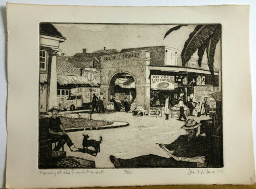 Jim Mc Clure - Morning at the French Market Etching Signed Vintage