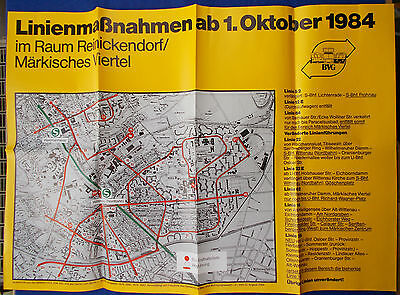 BVG-Plakat Linienmaßnahmen ab 1. Oktober 1984 Reinickendorf/Märkisches Viertel