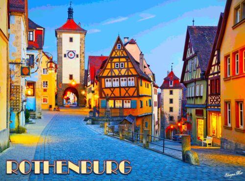 Rothenburg Cityscape German Germany Europe European Travel Advertisement Poster