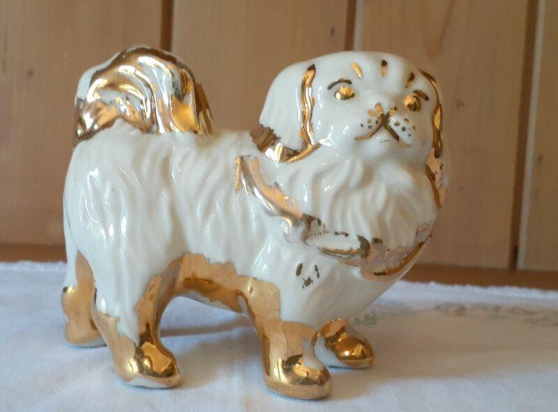 Vintage Porcelain Ceramic Pekingese White Gold Dog Figurine