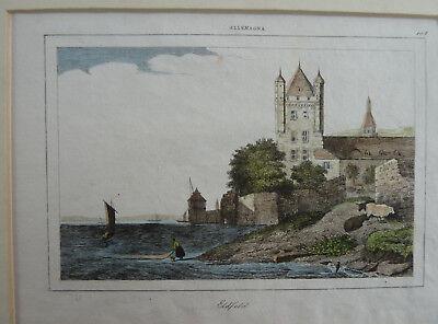 Stitch Eldfeld/Eltville. ca.1850. Koloriert. Approx. 14, 5x9, 5cm. Tower With