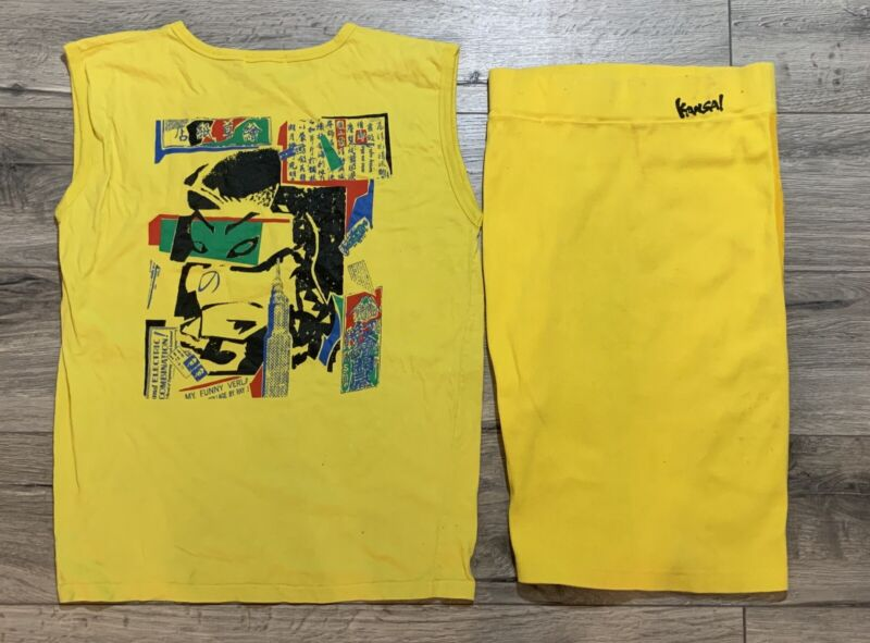 Vintage Kansai Yamamoto Yellow Two Piece Set Sleeveless Top and Skirt STAINED