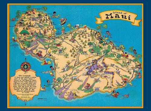 Hawaii Hawaiian Maui Map United States America Travel Advertisement Poster