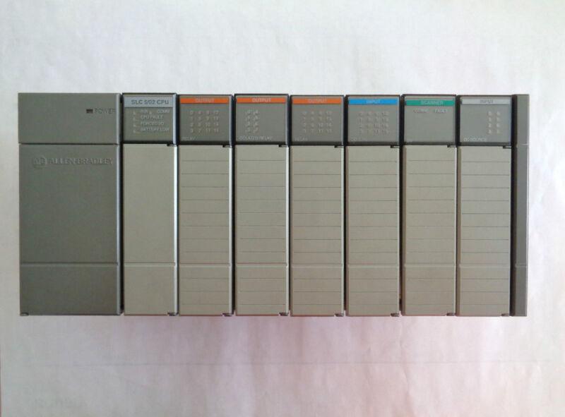 Allen Bradley SLC 500 1746-A7 7 Slot Rack w/Power Supply, 5/02 CPU and I/O Cards