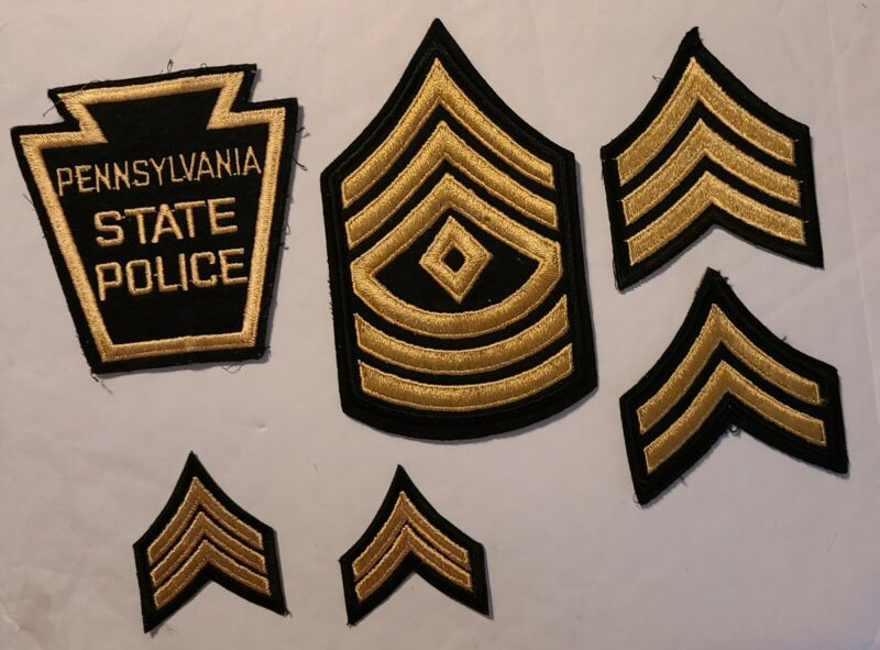 Vintage Black & Gold Pennsylvania State Police Patch, Big and Small Rank Stripes