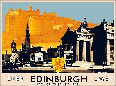 Edinburgh England Scotland Scottish Vintage Railway Travel Advertisement Poster