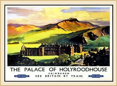 The Palace of Holyroodhouse Edinburgh England Scotland Vintage Travel Poster