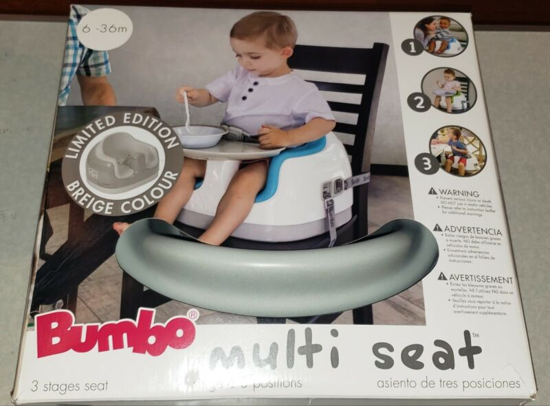 Bumbo Baby Soft Foam Multi Seat with Tray and Buckle Straps (BEIGE/GREY) - NEW