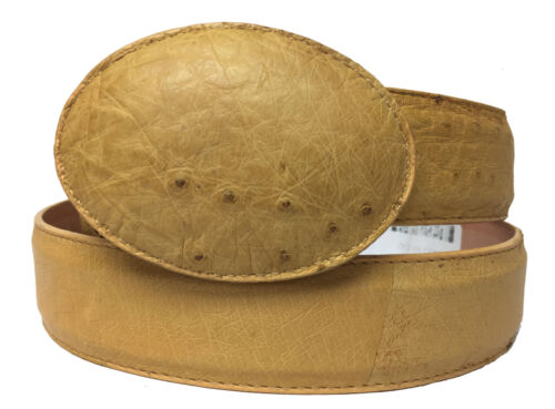 Mens, Yellow, Smooth, Ostrich, Exotic, Skin, Leather, Western, Rodeo, Cowboy, Belt, Size, 42