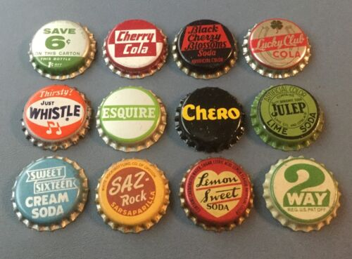 12 Vintage cork lined soda bottle caps Lucky Cola, Julep, Whistle, Chero, 2 Way