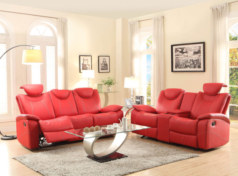 Helen Modern Living Room Furniture Red Bonded Leather Reclining Sofa Couch Set
