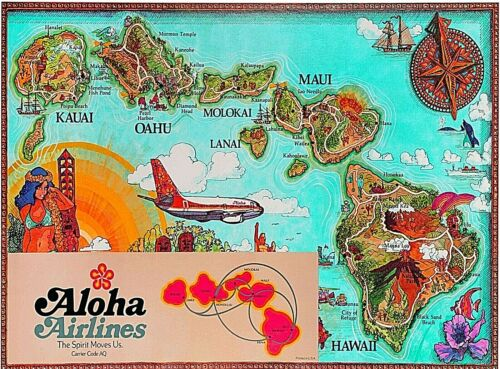 Aloha Airlines Hawaii Map United States Vintage Travel Decor Art Poster Print