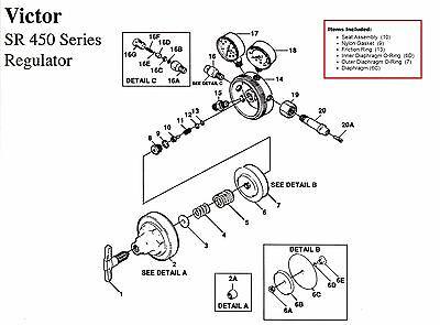 Victor Sr450d Oxygen Regulator Rebuildrepair Parts Kit W Diaphragm