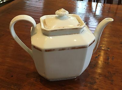 Antique Teapot in French White and Gold Trim Classic Design