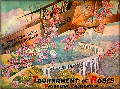 1920 Rose Parade Pasadena California Vintage Travel Advertisement Art Poster